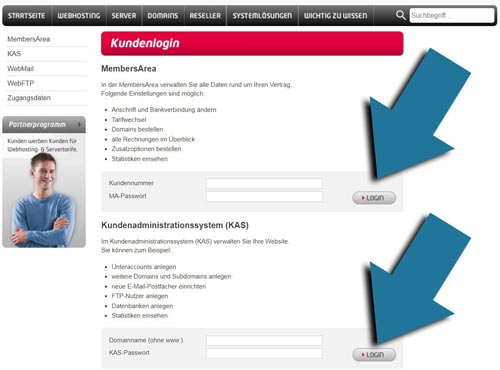 Kundenlogin members area und kundenadministrationssystem (kas)