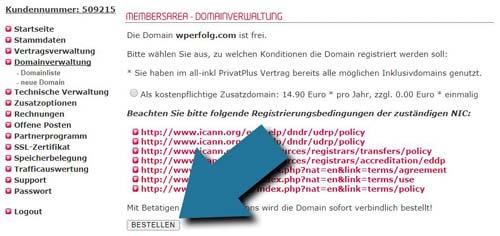 Domain bestellen