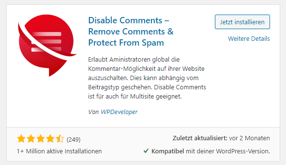 WordPress Kommentare deaktivieren mit Plugin