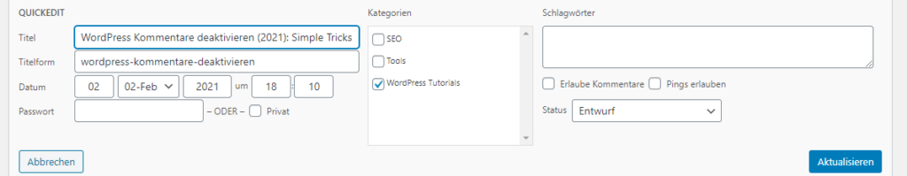 WordPress Kommentare im QuickEdit deaktivieren