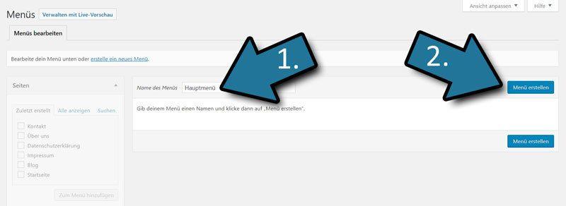 WordPress Menue erstellen