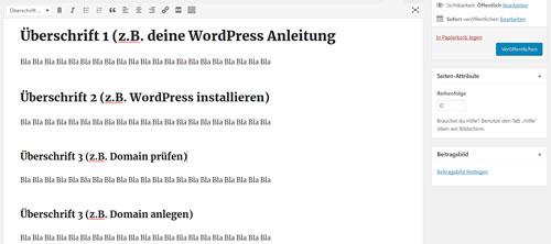 WordPress editor überschriften erklärung