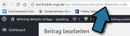 WordPress post ID bei beitrag in url