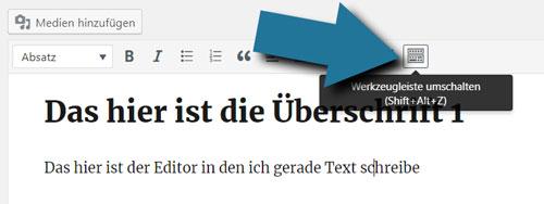 der WordPress editor einführung tutorial german