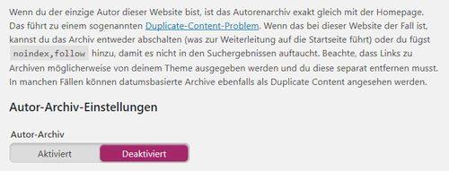 archiv einstellungen seo plugin