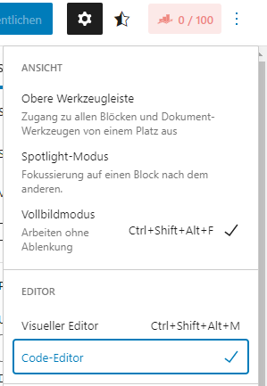code editor wordpress