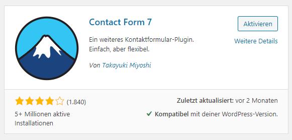 wordpress kontaktformular erstellen