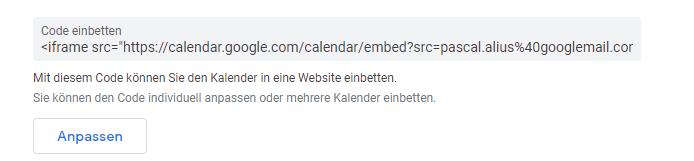 einbettungscode google kalender