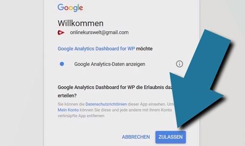 google analytics für wordpress autorisieren lassen