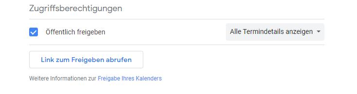 haken bei öffentlich freigeben google kalender