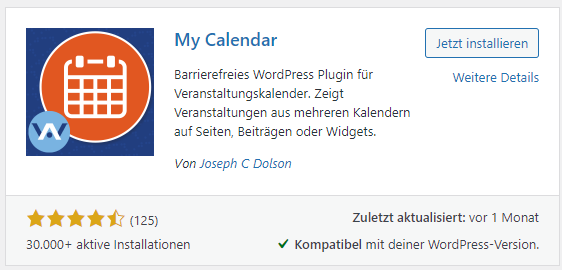 my calendar plugin