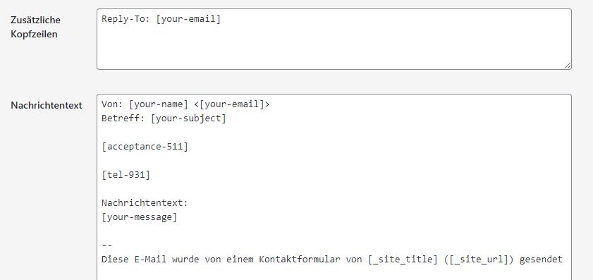 nachrichtenfeld wp plugin contact form 7