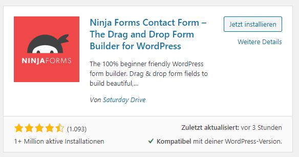 wordpress plugin ninja forms