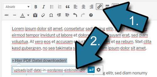 pdf dateien in wordpress einbinden per link