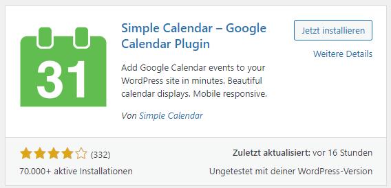 simple calendar plugin