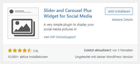 slider and carousel plus widget social feed