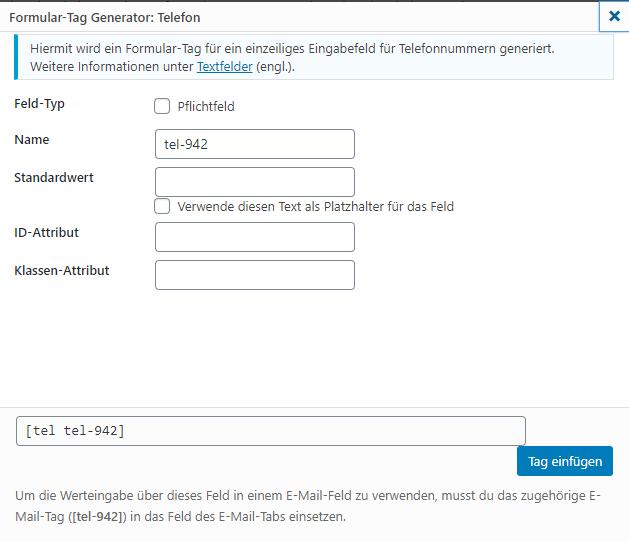 tag generator wp plugin contact form 7