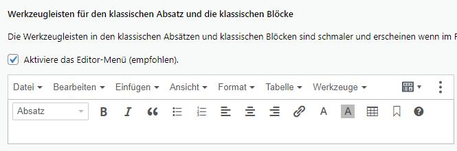 tiny anker ins menü block editor