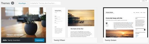 vorinstallierte WordPress Themes