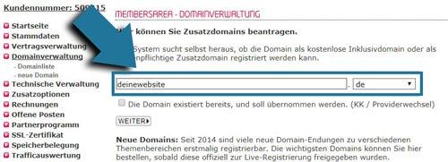 webadresse einrichten und kaufen in der all-inkl members area