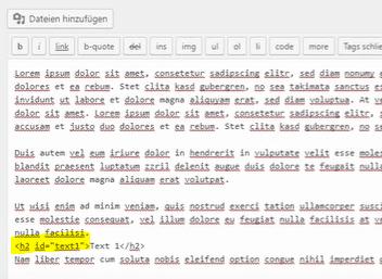 wordpress anker klassischer editor id