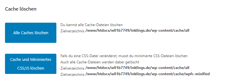 wp fastest cache cache löschen